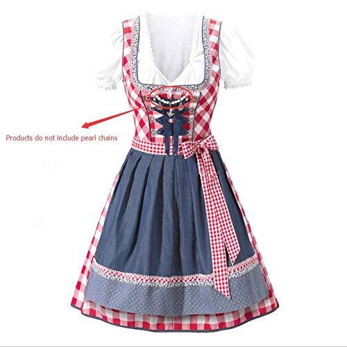 Kostüm Bauern Frauen - Frauen Oktoberfest Kostüm Bayerische Dirndl Magd Bauer Rock Kleid Party Weibliche Oktoberfest Kleid Bluse Schürze Kostüm@rot_L