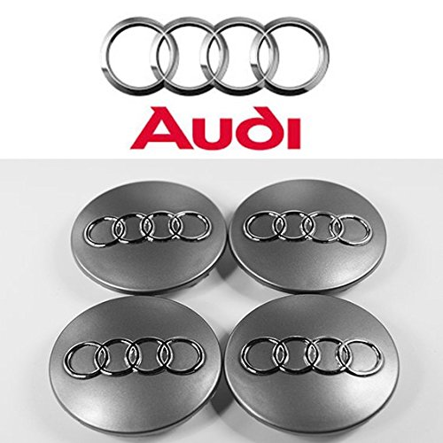 Sheibe Lot de 4 Moyeux Centre de Roue Audi - A6 60mm Couleur Logo Chrome Fond Gris 4B0 601 170A