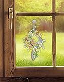 Plauener Spitze Fensterbild Blütenranke mit Schmetterling (BxH) 23 x35 cm inkl. Saughaken Fensterdeko