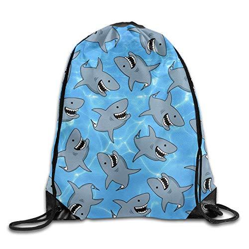 Shark Unisex Drawstring Backpack Travel Sports Bag Drawstring Beam Port Backpack.