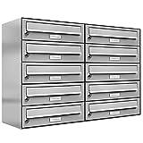 10 er Briefkastenanlage Edelstahl, Premium Briefkasten DIN A4, 10 Fach Postkasten modern Aufputz