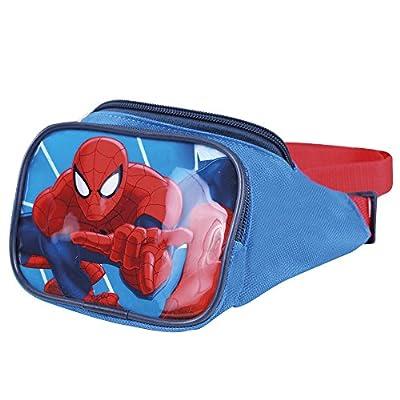 Sac à Banane Petit Garçon Spiderman Marvel - Pochette Ceinture de l'Araignée - Sac de Hanche pour l'école avec bandoulière réglable - Bleu Rouge - 13x23x9 cm - Perletti