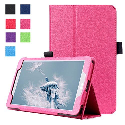 Forhouse Hülle LG G Pad 2 8.0 V498, PU Ledertasche Flip Magnet Etui Mit Standfunktion Ultra Schlanke stoßfest Schutzhülle für LG G Pad 2 8.0 V498 (Hot Pink)