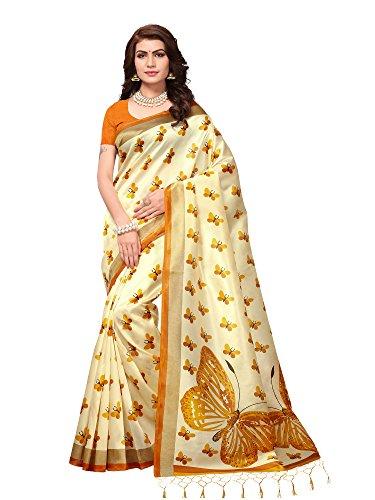 Saree Mall Art Silk Saree For Women (Cream_Sarees Below 500 Rupees_Apha1005_Free Size)