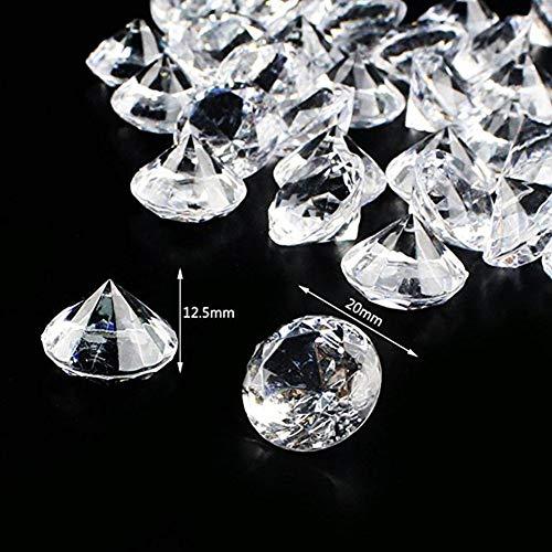 ToBeIT Acryl Diamanten ca. 145 Stücke 20mm Diamantkristalle transparent Kristall- transparente Tischdeko Streudeko Hochzeit Deko (20mm Diamenten)