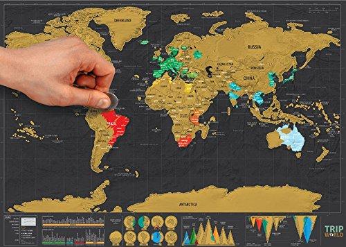 Carte du monde à gratter  Version Deluxe - Parfait pour les voyageurs - Plusieurs dimensions...