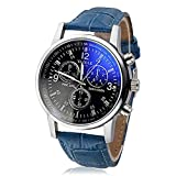 EUZeo Herren Kunstleder Armbanduhren Luxus Mode Herrenuhr Casual Blue Ray Glas Business Quarz Analog Uhren