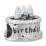 Uniqueen, ciondolo a forma di torta di compleanno, con pietre portafortuna, base metal, cod. UQ_DPC_LF1482_X03