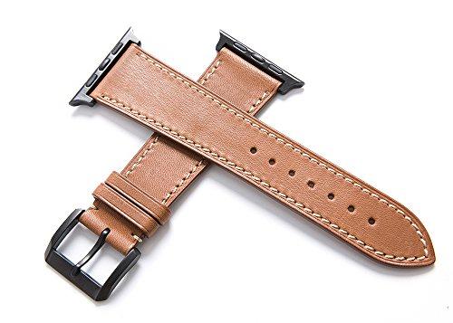 CHIMERA Reemplazo de piel de becerro genuino para Apple Watch Correa iWatch & Sport & Edition 42mm Series 1 Series 2 Pulsera Classic Buckle Super Soft Reloj Correa Brown (opción de 11 colores)