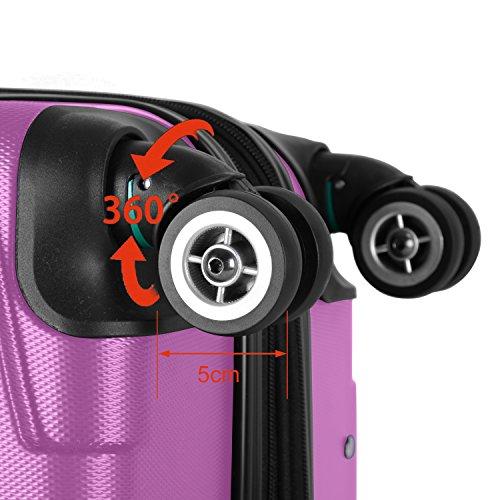 SHAIK® SERIE RAZZER SH002 3-tlg. DESIGN PMI Hartschalen Kofferset, Trolley, Koffer, Reisekoffer, 50/80/120 Liter, 4 Doppelrollen, 25% mehr Volumen durch Dehnfalte (Violett, Set) - 6