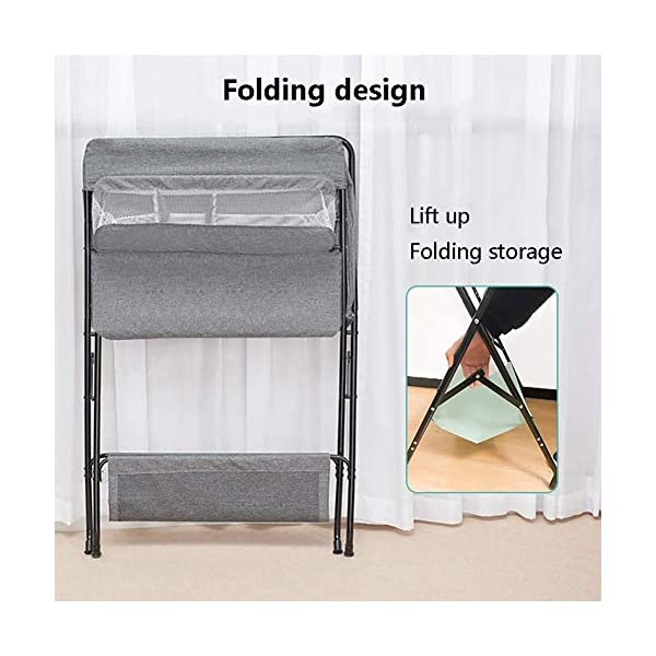 Baby Changing Table, Multifunction Massage Table with Storage, Diaper Station Collapsible GUYUE Storage: Storage basket, bottom shelf. Steel pipe + Oxford cloth + Waterproof support plate.(The diaper table has a bearing capacity of 20kg.) Size- As shown, 74x63x93cm(1cm=0.39 inch) Suitable for babies weighing less than 20kg. 3