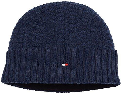 Tommy Hilfiger Herren Strickmütze Structured Knit Beanie Blau (Sky Captain Heather 462) One Size