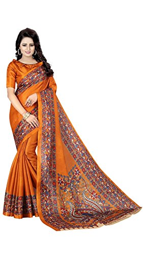 Rajeshwar Fashion Women's Khadi Saree With Blouse Piece (Kalamkari 3 Musturd C_Multi-Color)