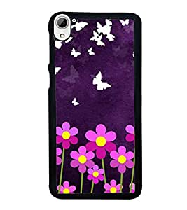 HiFi High Glossy Designer Phone Back Case Cover HTC Desire 826 :: HTC Desire 826 Dual Sim ( Purple Butterfly and Flowers )