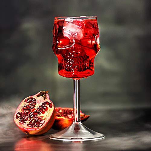 bar@drinkstuff Cráneo Copas de Vino 16 oz / 450 ml - Conjunto de 2 - Caja de Regalo de la Novedad de Halloween Spooky cristalería