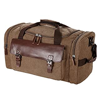 ANCHEER Unisex Canvas Travel Carrybag, Vintage Large Capacity Hiking Camping School Bag Fits 17