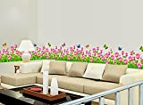 Syga 'Pink Border Flowers Design' Wall S...