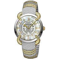 Roberto Cavalli - Reloj de pulsera para mujer, esfera de acero inoxidable, color blanco
