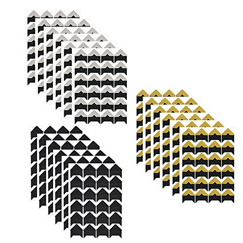YAVO-EU 432 Fotoecken Selbstklebend Aufkleber 18 Blätter für DIY Scrapbook, Fotoalbum Album Tagebuch Bild Dekoration Bilderalbum Notizbuch (Schwarzer Boden)