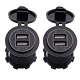 MagiDeal 2 Pezzi Doppia USB Presa Caricatore 5V 2.1A in LED Blu + Rosso con 4pcs Terminale Auto Moto Camion SUV Braca Marine