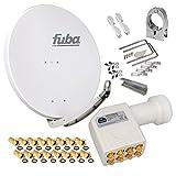 FUBA 85cm für 8 Teilnehmer (Direktanschluss) Digital SAT Anlage DAA850G + Octo LNB weiß 0,1dB Full HDTV 4K 3D + 16 Vergoldete