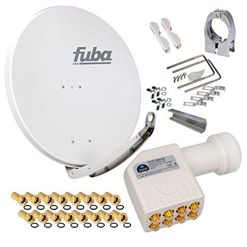 FUBA 85cm für 8 Teilnehmer (Direktanschluss) Digital SAT Anlage DAA850G + Octo LNB weiß 0,1dB Full HDTV 4K 3D + 16 Vergoldete F-Stecker und F- Montageschlüssel gratis dazu Sat-hdtv-antenne