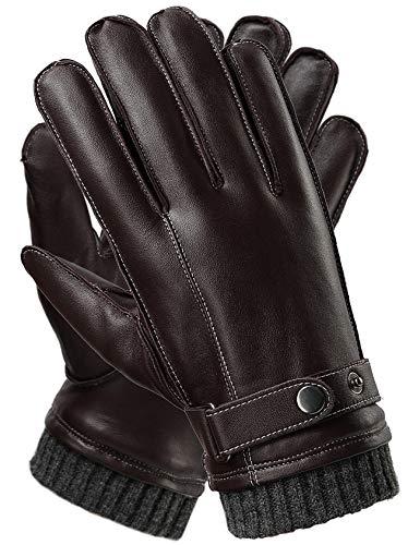 HARRMS Herren Touchscreen Handschuhe Winterhandschuhe Italian Nappa Leder Fäustlinge Fausthandschuhe Kaschmir Auskleidung,Braun,Large