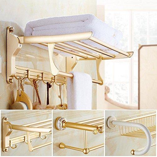 XXTT-Oggetto d'antiquariato europeo, porta asciugamani, spazio oro champagne in alluminio, pieghevole attività rack , A
