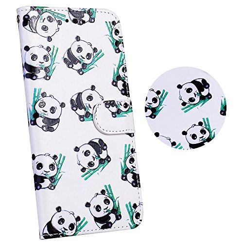 Coque iphone 6 / 6S, Coffeetreehouse étui Housse de Protection PU Cuir + TPU Silicone Téléphone Portable Flip Phone Case Cover Coquille Coque pour iphone 6 / 6S - Panda mange du bambou