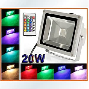 [mia.home®]Flutlicht Strahler Fluter 20W LED RGB wasserdicht IR Fernbedienung +Akku AC-230V NG4160