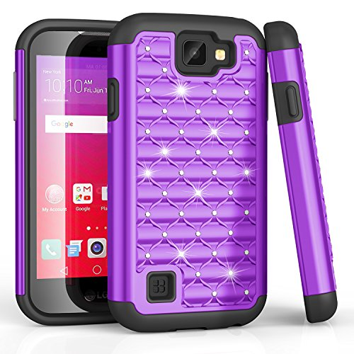 LG K3 Fall, LG LS450 Fall, bis Nieten Strass Kristall Bling, Hybrid Defender Rugged Slim Case Cover für LG K3 Boost Handy/LG K3 Virgin Mobile, Schwarz/Violett Handy Von Boost Mobile