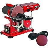 Einhell TC-US 400 - Lijadora de banda estacionaria con banda de lija y papel abrasivo de disco, 375 W, 230 V, color negro y rojo