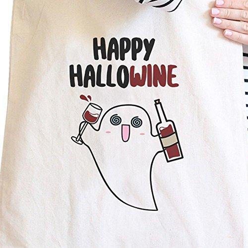 365 Printing inc, Borsa tote donna Happy Hallowine Ghost Wine - Black Misura unica Happy Hallowine Ghost Wine - Natural