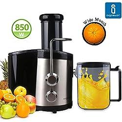Aigostar MyFrappe Black 30IMX - Licuadora semiprofesional para frutas y verduras con dos velocidades, potencia de 850W y jarra de 1,25 litros. Cuerpo de acero inoxidable de tipo 304 y libre BPA. Diseño exclusivo.