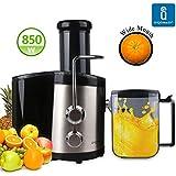 Aigostar MyFrappe Black 30IMX - Extracteur centrifugeuse de jus de fruits et légumes frais 100% sans BPA. 850W, 2 vitesses et jarre de 1,25 litres. En acier inoxydable de type 304. Design exclusif.