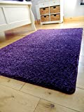 **10 colors & 4 sizes** WASHABLE, NON SLIP, NON SHED, THICK SOFT SHAGGY PILE BEDROOM LIVING ROOM BATHROOM MAT RUG CARPET (PURPLE, 100 x 160 cms)
