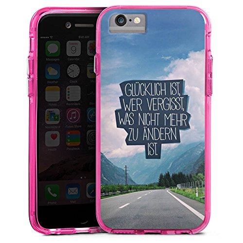 Apple iPhone 6 Plus Bumper Hülle Bumper Case Glitzer Hülle Happiness Sprüche Sayings Bumper Case transparent pink