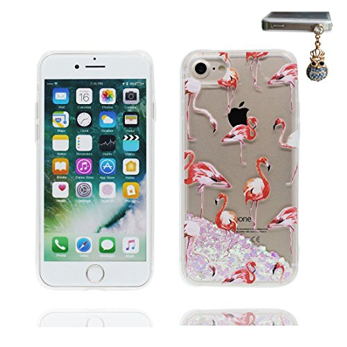 "iPhone 7 Coque, Licorne cheval unicorn Skin Hard Clear étui iPhone 7, Design Glitter Bling Sparkles Shinny Flowing Apple iPhone 7 Case Cover 4.7"", résistant aux chocs et Bouchon anti-poussière Grand Flamant 1"