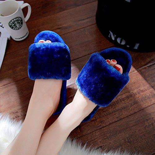 Femmina fankou inverno pantofole di cotone giovane fondo spesso home carino indoor antiscivolo fondo morbido caldo scarpe invernali maschio Lila