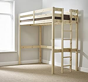 Loft Bunk Bed - 3ft single wooden high sleeper bunkbed - heavy duty use - CAN BE USED BY ADULTS -
