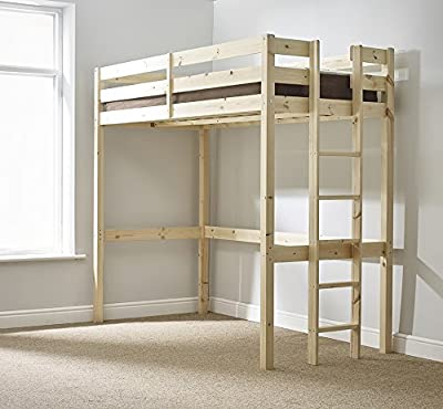Loft Bunk Bed - 2ft 6 small single wooden high sleeper bunkbed - heavy duty use - CAN BE USED BY ADULTS -