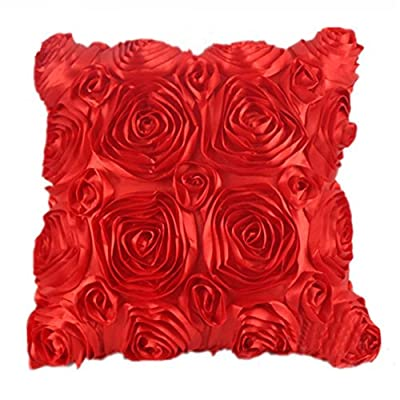 RuiChy Satin Rose Flower 3D Square Pillow Cushion Pillowcase Case Cover Home Decor - cheap UK light shop.