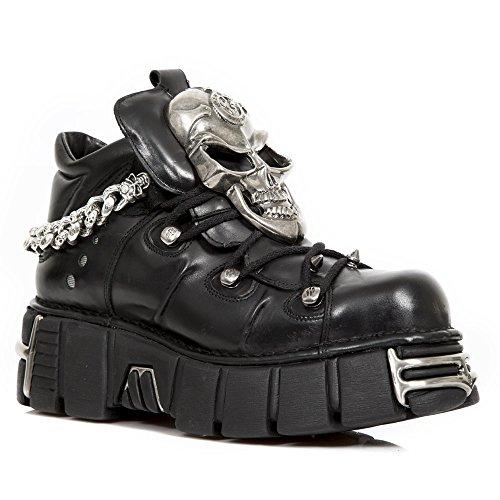 New Rock Black Leather M.1491 S1 Women Metallic Season-Stock Men Season-Stock Available on 35 days Metallic Men BLACK, BLACK