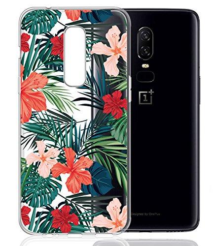 Oneplus 6Fall, OnePlus 6mit Blumen baisrke Slim stoßfest klar Blumenmuster weiche Biegsame TPU Back Cover für OnePlus 6[Purple Pink], Palm Tree Leaves -
