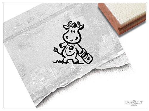 Stempel - Kinderstempel Kleine Kuh - Bildstempel Motivstempel Geschenk für Kinder - Schule Kita Einschulung Malvorlage Basteln Deko -von zAcheR-fineT
