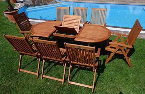 Edle Gartengarnitur Terassengarnitur Gartenset Gartenmöbel Holz Eukalyptus mit Ausziehtisch 140-180x100cm + 8 Hochlehner 7-fach verstellbar 'LIMA180-6EU-SET' von AS-S - 6