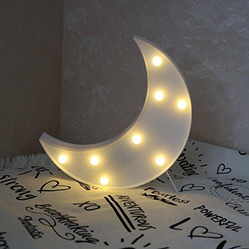 REKYO Laufschrift LED Nachtlicht, niedlichen LED-Lampen an Wand, Raum dekoratives Licht, Tisch Lampe Stimmung Beleuchtung Lampe Kinder Zimmer Weihnachten Deko (Mond) (Straße Lampe Licht)