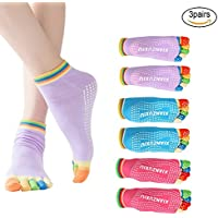 EQLEF® 3 Pairs Womens Anti-Slip Grip Workout Yoga Socks