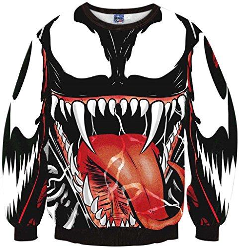 Pizoff Unisex Hip Hop Sweatshirts mit 3D Digital Print 3D Muster Monster Y1759-F9-L (College Hoody Sweatshirt)