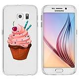 licaso® Hülle für Samsung Galaxy S6 5,1 TPU Schutz Cover Samsung S6 Cupcake Kuchen Lecker Kirsche Case Sketch transpa